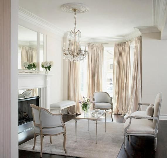 Ivory Silk Taffeta Curtain French Country Living Room London
