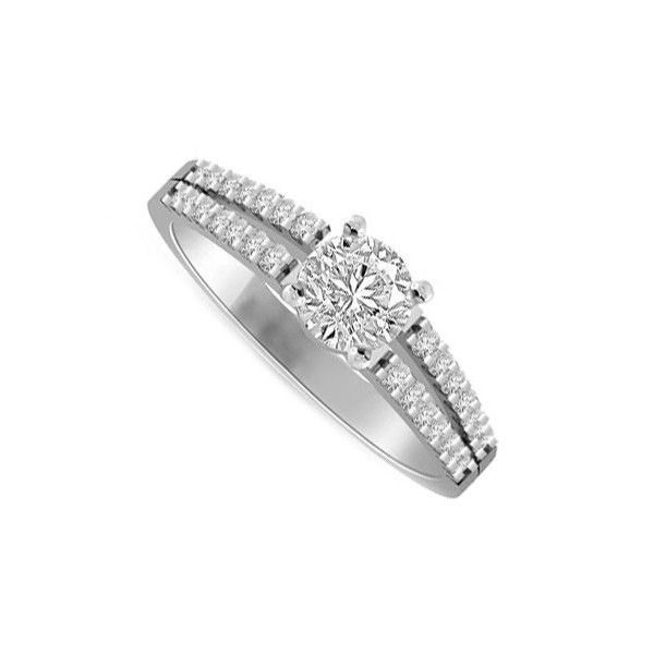 ANELLO DI FIDANZAMENTO SOLITARIO COMPOSTO CON DIAMANTE SUL GAMBO 18CT ORO BIANCO | Solitario Composto con 28 diamanti laterali. Il diamante centrale e diamanti laterali sono tutti Taglio Brillante. Il peso totale dei carati per questo anello e` disponibile da 0.35ct a 0.70ct, con il diamante centrale che va da 0.21ct a 0.56ct. Il 28 diamanti laterali sono 0.005ct ciascuno per un totale di 0.14ct.