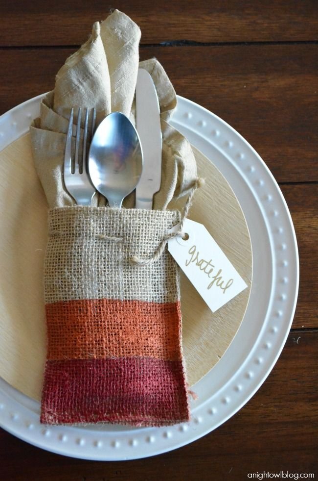 Painted Burlap #Thanksgiving Place Setting with Americana Multi-Surface Satins at anightowlblog.com. #DIYDiy Ideas, Burlap Thanksgiving, Painted Burlap, Place Settings, Thanksgiving Places Sets, Painting Burlap, Thanksgiving Tablescapes, Burlap Bags, Placesettings