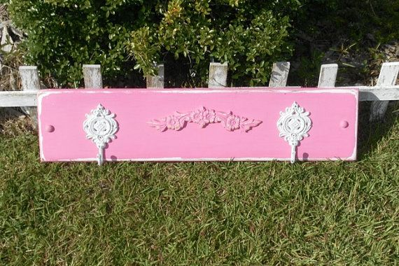 Upcycled Hot Pink Coat Rack - Towel Rack. Upcycled Decor, Beach Cottage, Shabby Chic Bathroom Decor, Home Storage on Etsy, $45.00