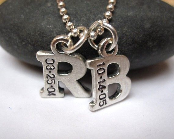 Mommy necklace TWO letters Hand stamped jewelry initial charm necklace. $58.00, via Etsy.