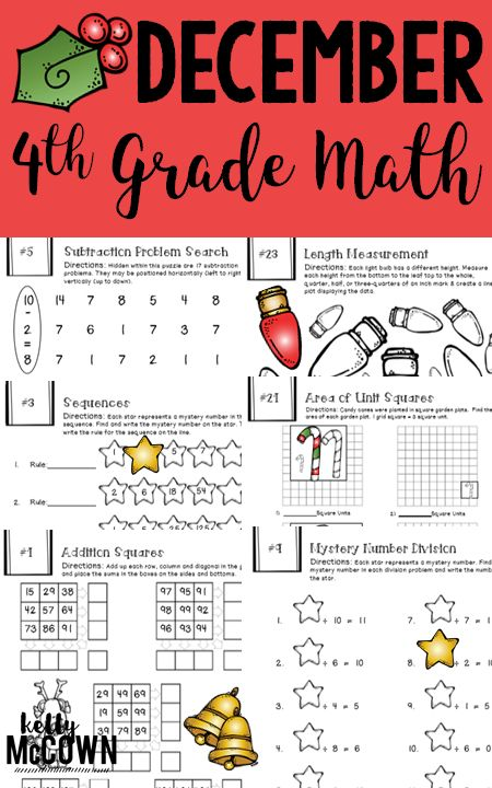 Engaging fun Math review for 4th graders. Christmas Theme activities for Math Review in December. December 4th Grade NO PREP Math Packet.