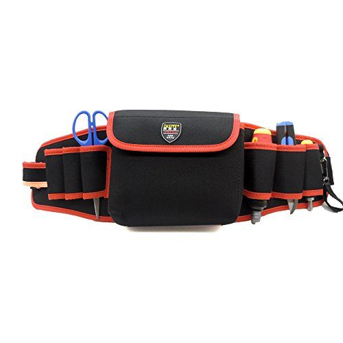 Electrician Waist Bag 600D Oxford Fabric Red 8 Pocket Hardware Tool Bag Holder Organizer Pouch Tools Belt *** Click image to review more details.