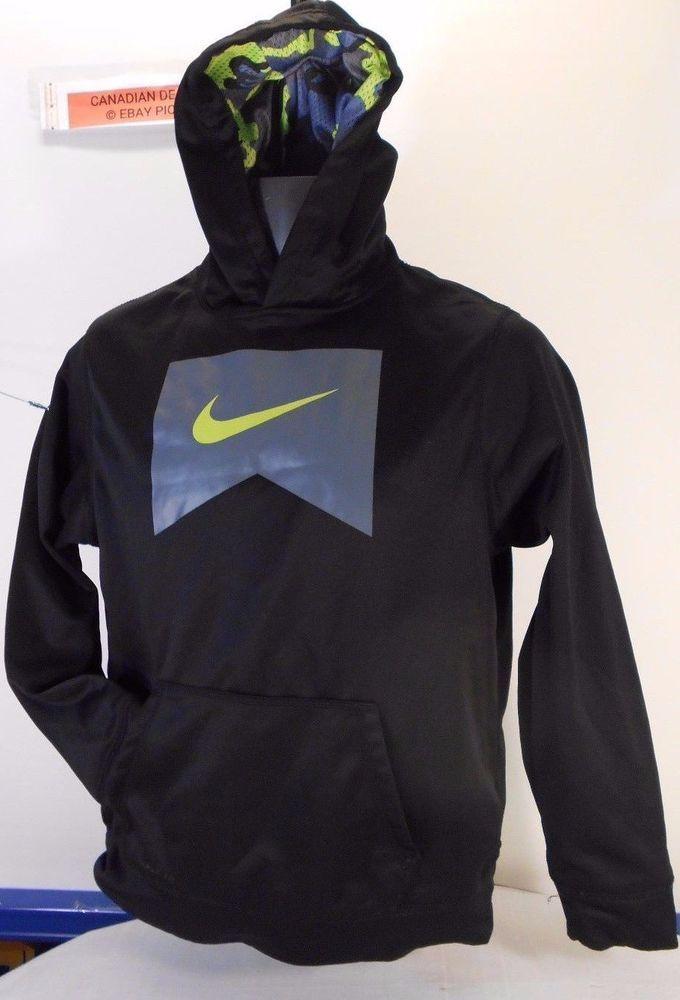 Nike Kids Zip up Hoodie Sweatshirt Therme-fit XL/TG Neon Camo Hoodie 13-15 yrs