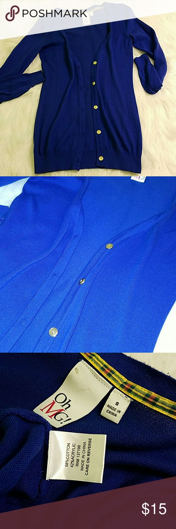 """Royal Blue Cardigan EUC: worn once and washed. SHOULDER TO HEM: 25.75"""" SIZE: Small  COLOR: royal blue  OFFERS WELCOME (EXCLUDES """"final sale"""" Items). BUNDLE &SAVE! THANKS FOR STOPPING BY! -Bobbie Sweaters Cardigans"""