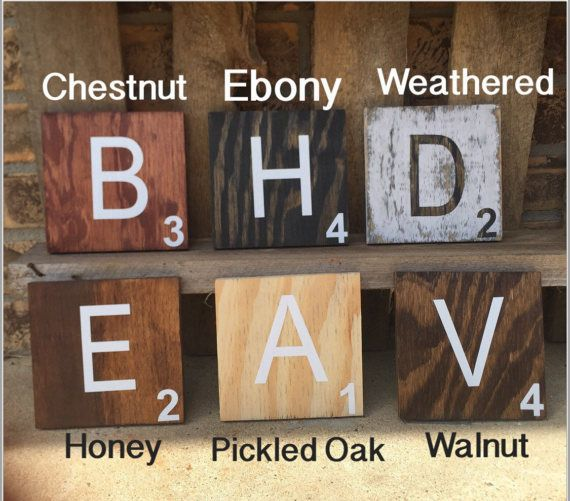 These 5x5 inch scrabble wall tiles are a perfect accent to any family or game room. These tiles are versatile and can be arranged to spell something special and can continue to grow with more letters added in the future. Spell out your home state with the shape of your state, add a heart or the ampersand sign (&) to combine words. The possibilities are endless!  Each tile is handmade, stained & sanded for a smooth finish then sealed with a protective coat of polycrylic. White vinyl le...
