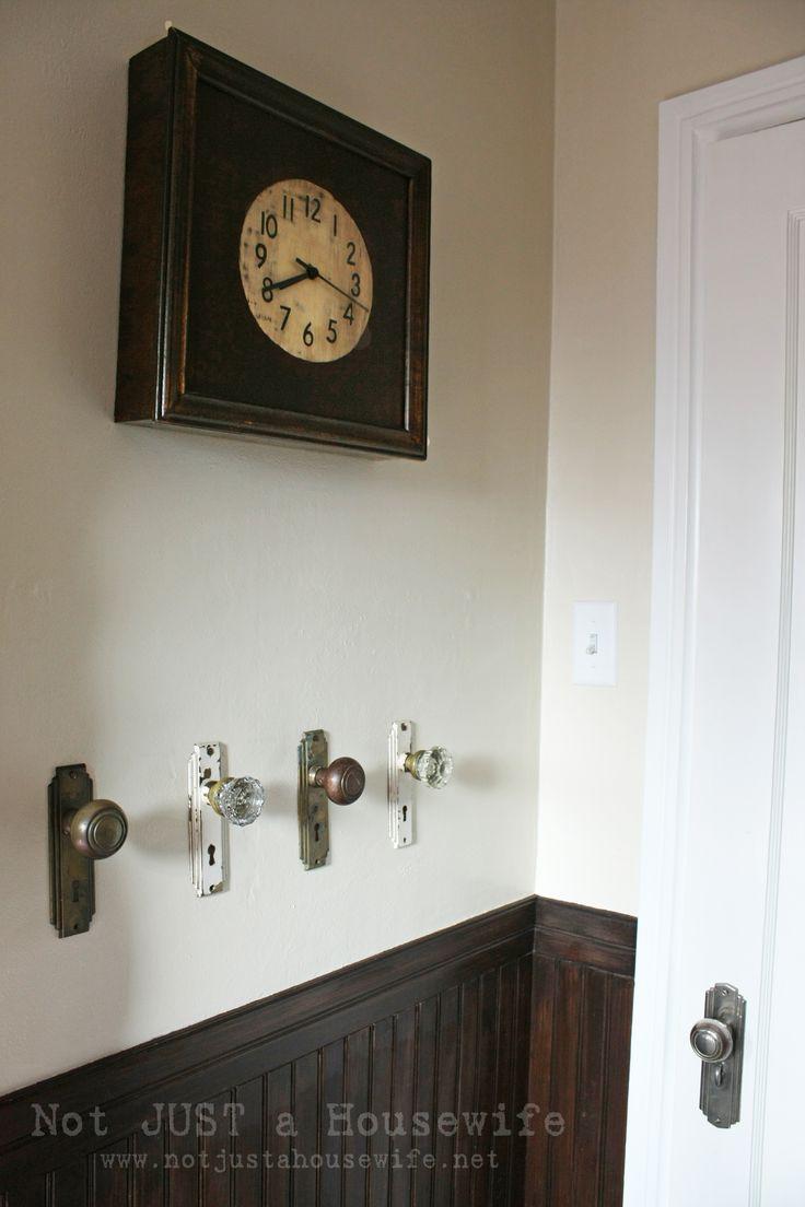 Old vintage door knobs as towel or coat hangers.     D.