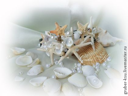 Ободок для волос в морском стиле. Ободок в морском стиле.  Идеально подойдет для свадьбы в морском стиле,или торжества на берегу моря.  Ободок украшен морскими звездами,ракушками и жемчугом.  По желанию можно сделать основу металлической и тонкой.