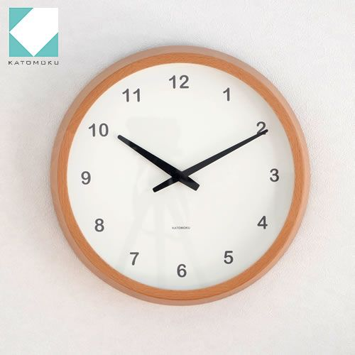 KATOMOKU muku round clock 電波時計 壁掛け ステップ式掛時計 ナチュラル / FavoriteStyle