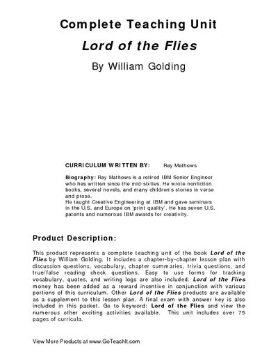 a paper on absolute freedom in william goldings lord of the flies William golding's lord of the flies: an analysis  and wastes no time using his newfound freedom ralph, the least expected to change towards being uncivilized.