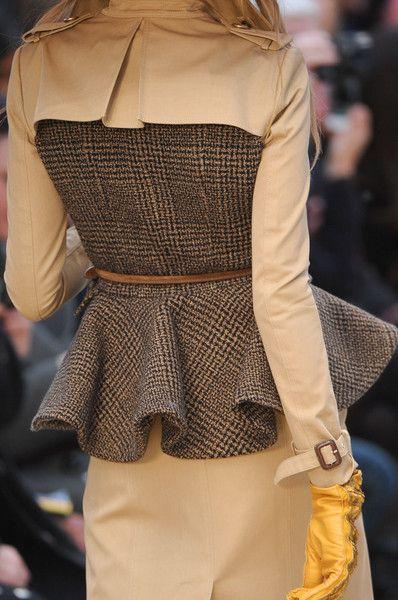 Burberry Autumn/Winter 2012. Tweed peplum; stunning. tweed jackets for women. Women's tweed, tweed for women.