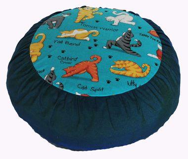 """Meditation Cushion Zafu buckwheat Pillow """"""""Yoga Cats"""""""" Teal Rare Find Fabric"""