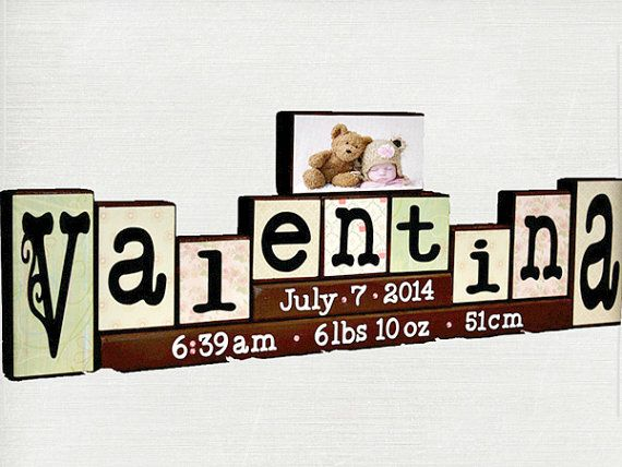 Personalized Letter Blocks with Birth Stats & Photo - Unique New Baby Gift - Wood Name Blocks - Nursery Name Letters - 9 Letters Name Sign