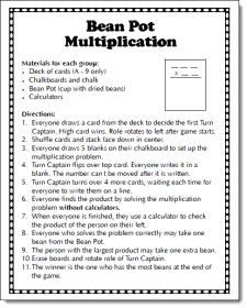 Bean Pot Multiplication Game freebie - fun cooperative learning game for multiplying by 2-digit numbers