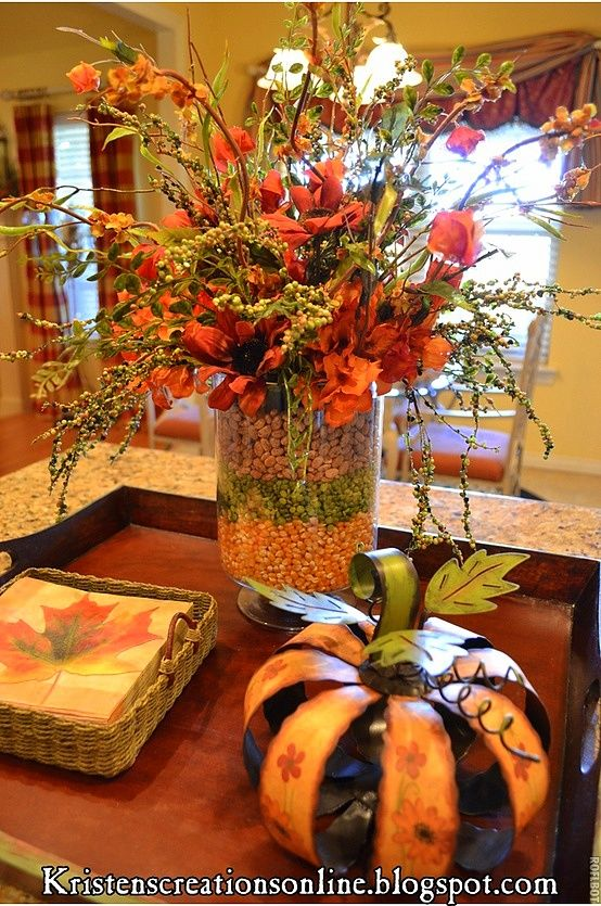 fall table centerpiece idea love this corn lentils pinto bean - Fall Harvest Decor