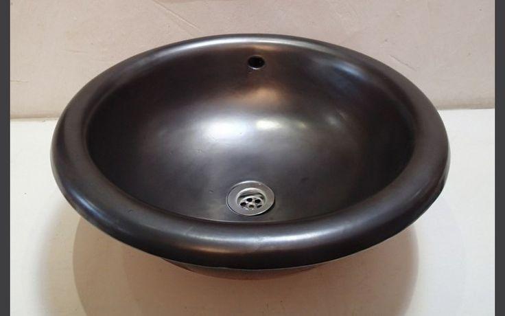 Vasque ronde à encastrer Sphère métal diamètre 40 x h 19 cm