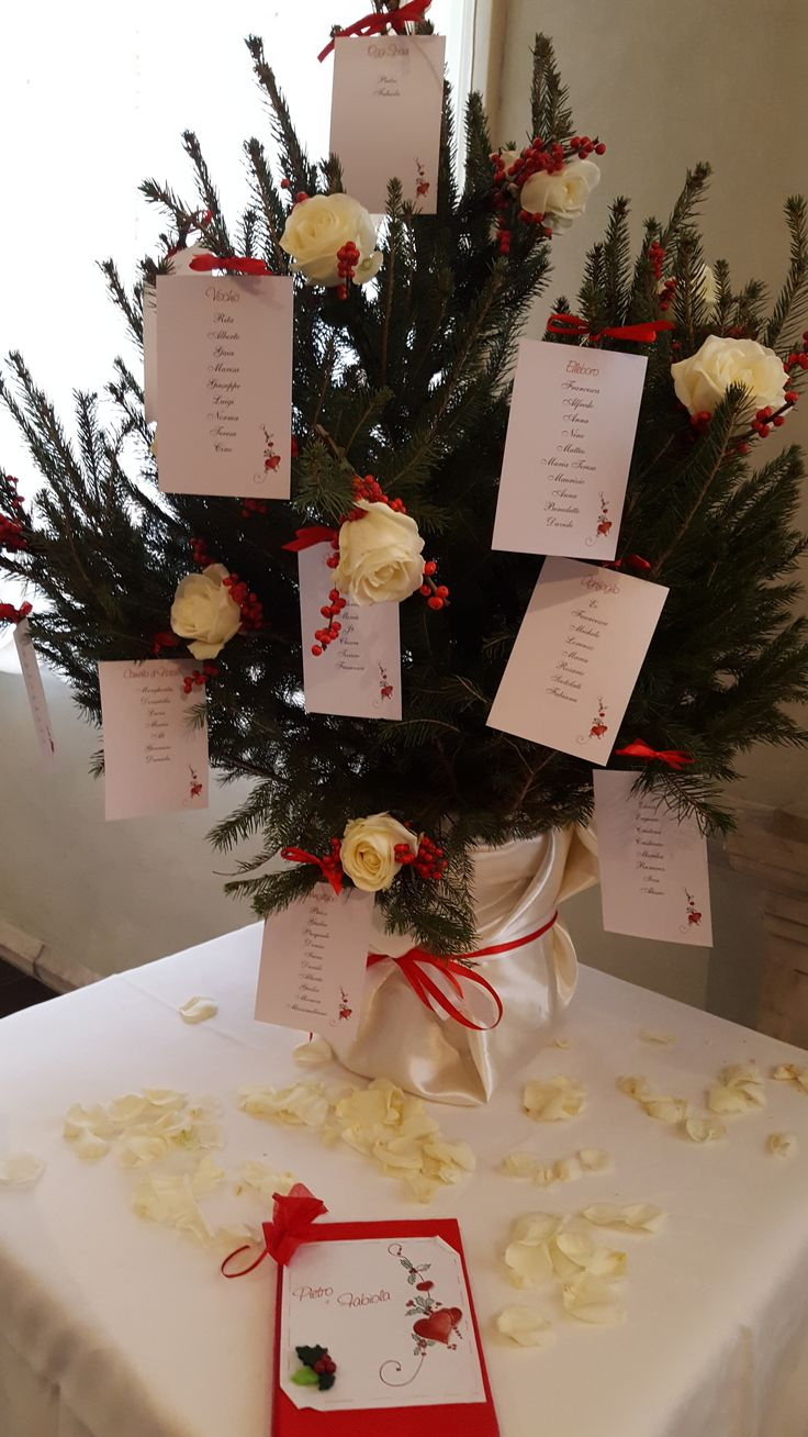 I nomi degli invitati che addobbano la pianta con tanto di rose bianche!