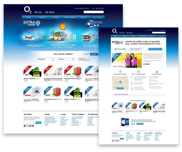 O2 Extra Vyhody website design.