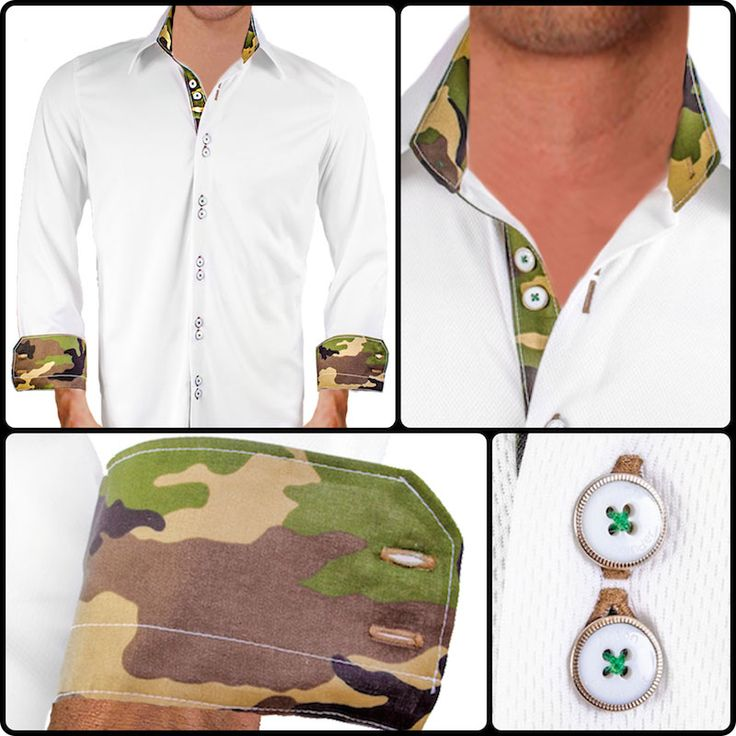 White with Camo Dress Shirts. These dress shirts are made from a moisture wicking material making them wrinkle free and super comfortable.  Anton Alexander Dress Shirts are 100% American Made.