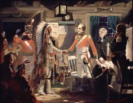 The meeting of Major General Sir Isaac Brock and Tecumseh, Shawnee War Chief, during the planning to capture Detroit.