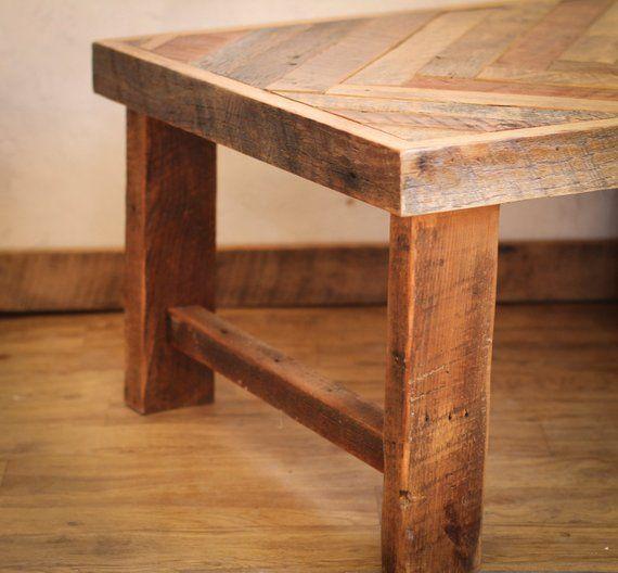 Herringbone Coffee Table Wood Legs Reclaimed Wood Coffee Table