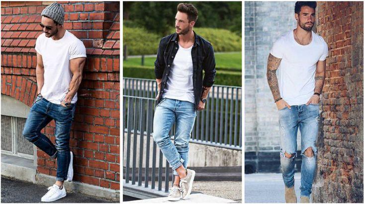 look de un hombre jeans playera blanca