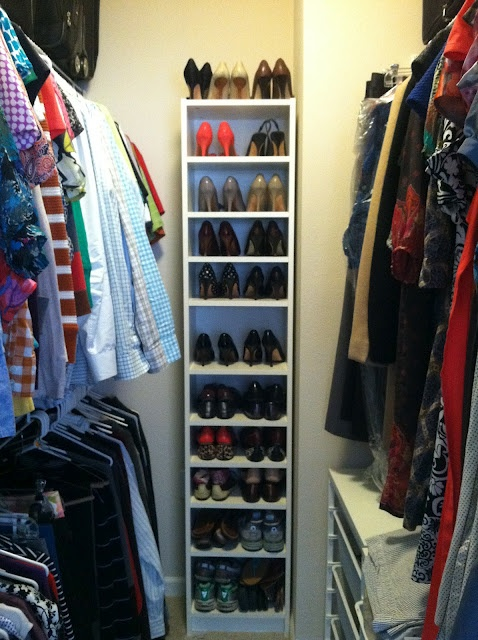 Billy Bookcases with extra shelves for shoe storage