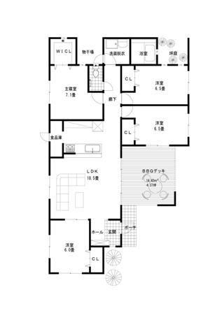木造住宅建売 コートハウス設計施工 ライフ・ストレージ・マネジメント株式会社:最新平屋間取り