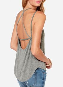 Grey Cross Back Casual Cami Top