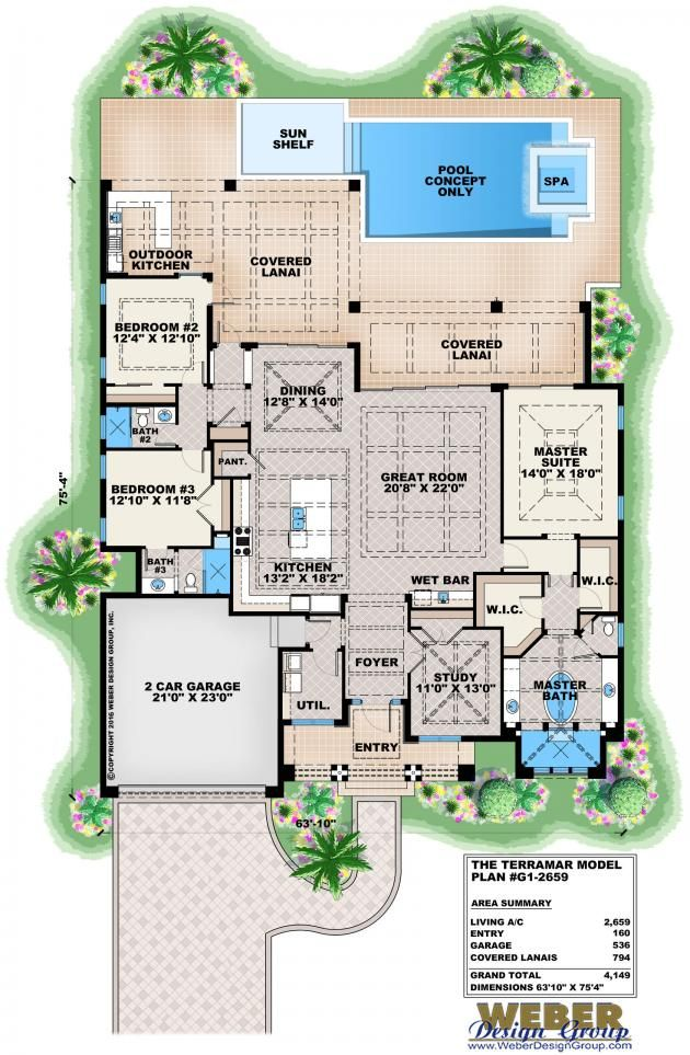 Contemporary floor plan by weber design group for Weber house plans
