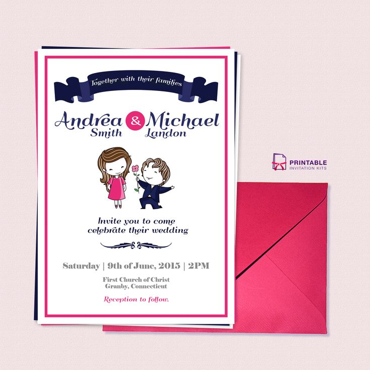 211 best wedding invitation templates free images on pinterest free pdf download cute couple illustration wedding invitation template for customizations printableinvitationkits stopboris Image collections