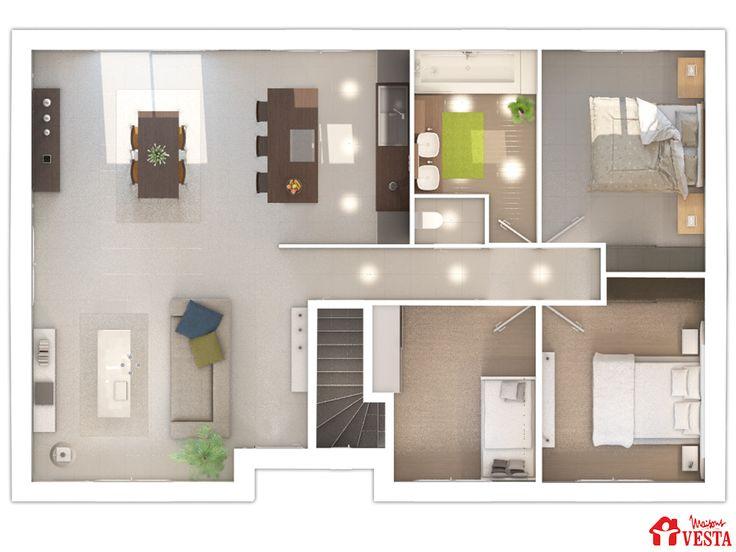 Maisons VESTA :  plan du rez-de-chaussée du modèle Havana.  90m² + 98 m² surface annexe. Type F5.