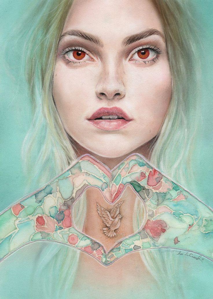 Bec Winnel #art #drawing #illustration #portrait #fantasy #woman #prismacolor #pencil #coloredpencil #eyes #intense