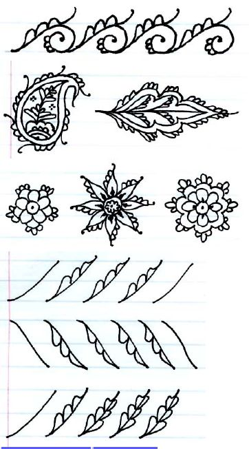 Wow! Free ebook of henna patterns and practice. Shows lots of ways of combining different elements to make cool designs!