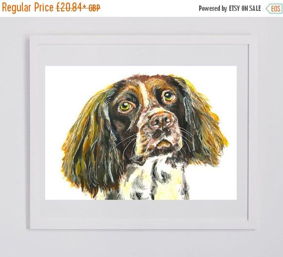 CYBER MONDAY SALE Springer Spaniel Canvas Print. Dog painting, Springer Spaniel Print , Gift for Springer spaniel owner,… #dogs #etsy #art