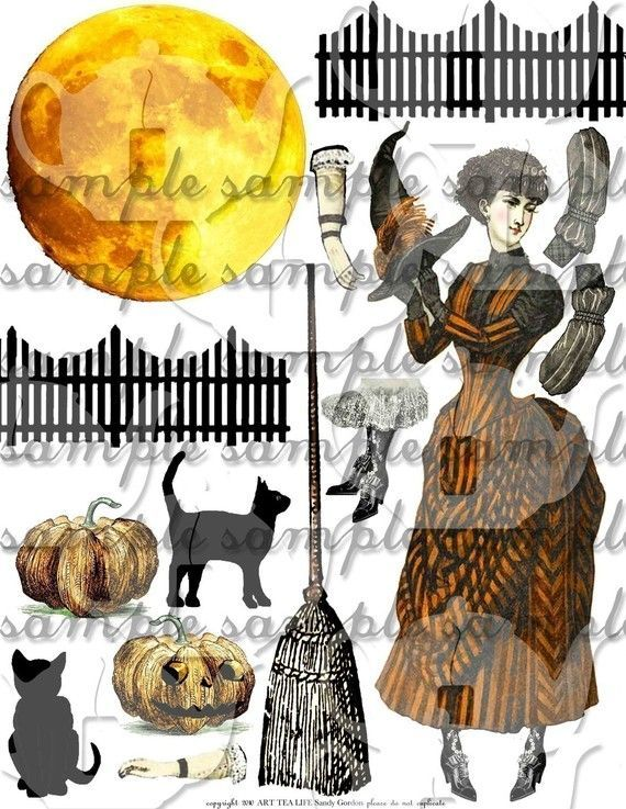 victorian witches pics | Victorian Halloween Collage Sheet Digital File Witch Decoration ART ...