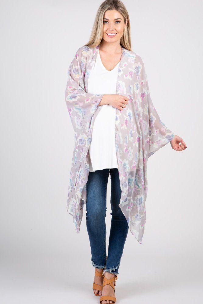 0224e241f04 Ivory Floral Chiffon Dolman Maternity Plus Kimono