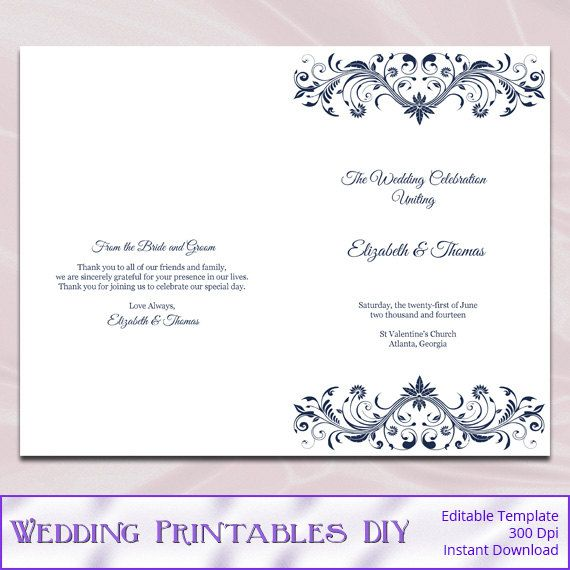 Navy Wedding Program Templates Diy Elegant Order Of Ceremony