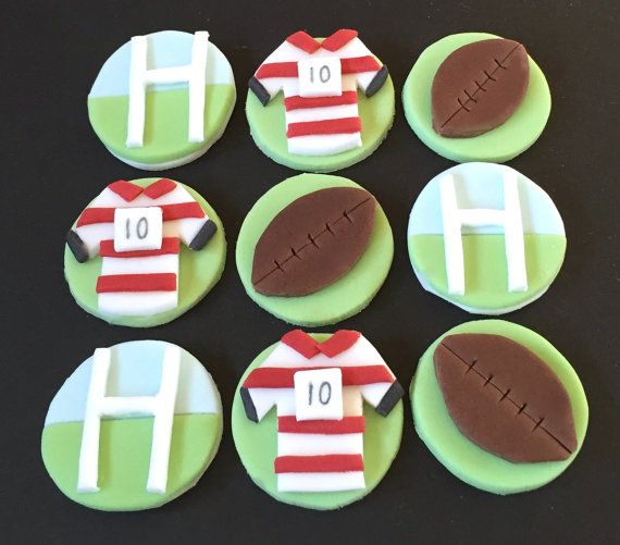 9 x edible icing Rugby themed Cupcake toppers by ACupfulofCake