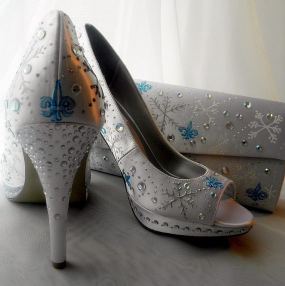 if valerie gets married in winter wedding shoes and purse painted snowflakes