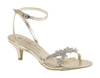 low heel petal detail diamonte ankle strap gold shoes * For a very tall daughter