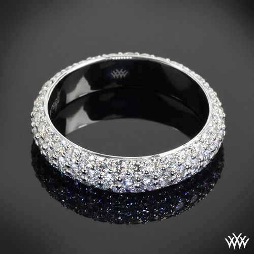 This gorgeous Custom 3 Row Pave Diamond Wedding Ring is a full eternity and holds 1.70ctw A CUT ABOVE® Hearts and Arrows Diamond Melee.  If you would like to receive a custom quote for this design please  - Register with Whiteflash and get $75.00 off your first order.  whiteflash.com