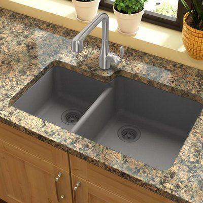 Elkay Quartz Classic 33 L X 21 W Double Basin Undermount Kitchen Sink Undermount Kitchen Sinks Quartz Kitchen Countertops Colors Elkay