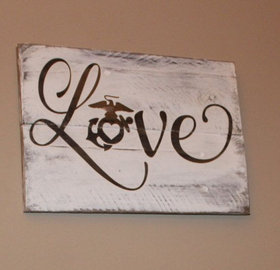 Love With EGA Rustic wall hanging - Marine Corps Love - Proud USMC Family - Pallet Wood Sign - Military Girlfriend - USMC Wife  Gift by Gratefulheartdesign on Etsy