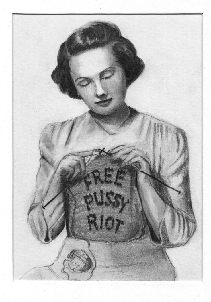 Free Pussy Riot - Katherne Claypole graphite on paper 2013