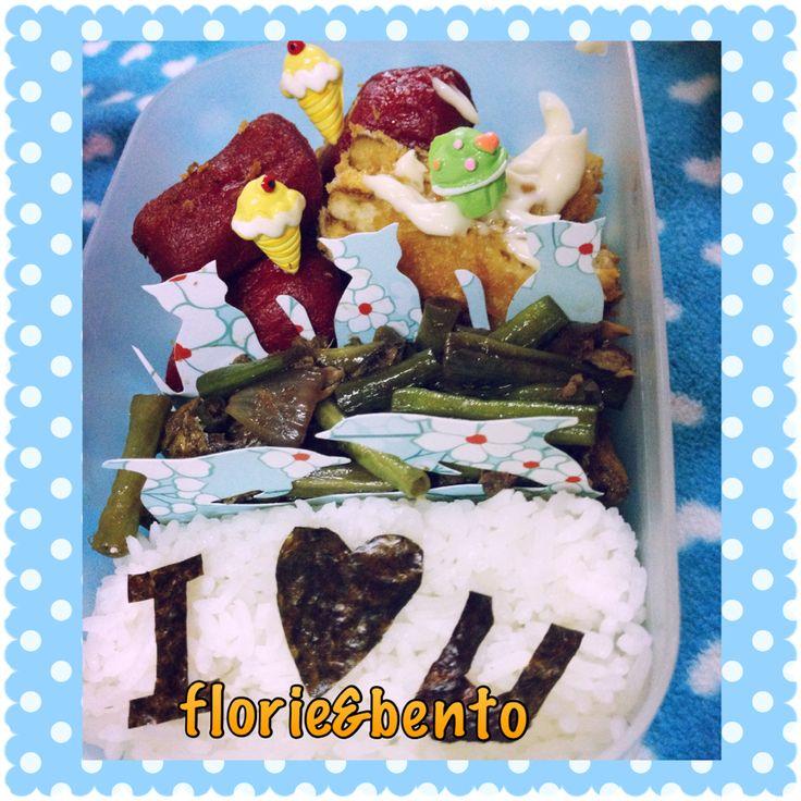 Letter I bento Imbento food, ice cream picks and iloveyou