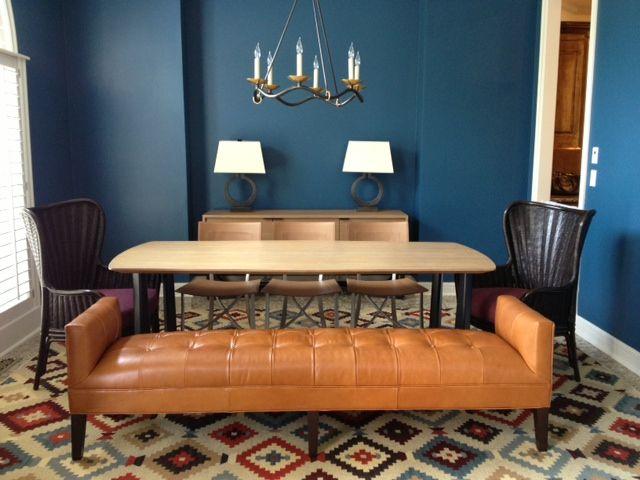 Image Of Dining Room Painted In Benjamin Moore Newport Blue