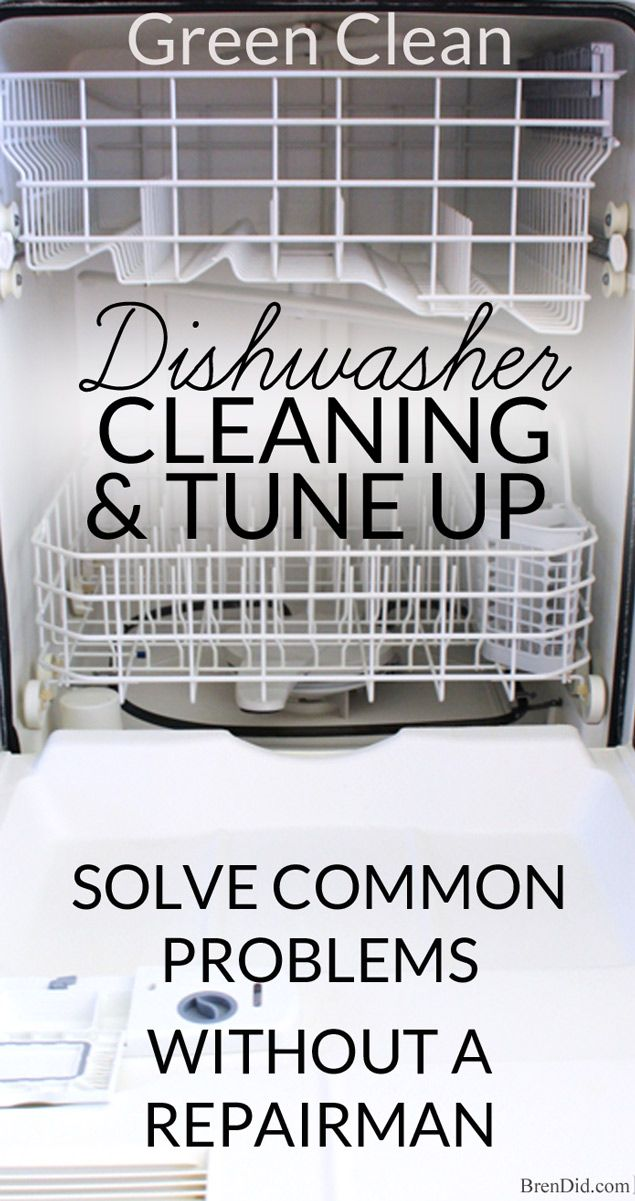 This green dishwasher cleaning and tune-up tutorial will remove build up, solve drainage problems, keep it sparking clean, and make it run like new!