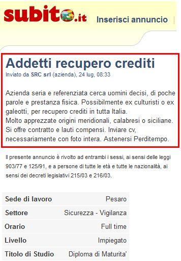 """""""CERCASI CALABRESE, MEGLIO SE EX GALEOTTO"""" http://www.ilpeggiodellarete.it/cercasi-calabrese-meglio-se-ex-galeotto/ #annunci #lavoro"""