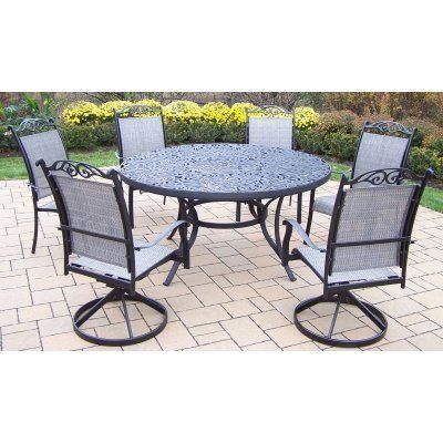 Mississippi 7 Piece Sling Dining Set Finish: Black by Oakland Living. $1998.00. 2205-10605-2S4C-7-BK Finish: Black Features: -Table top has an opening for an umbrella.-Hardened powder coat for years of beauty.-Fade, chip and crack resistant. Includes: -Includes one table, two sling swivel chairs and four sling dining chairs. Construction: -Rust free cast aluminum and sling construction. Assembly Instructions: -Stainless Steel, galvanized or brass assembly hardware. Dimensions: ...